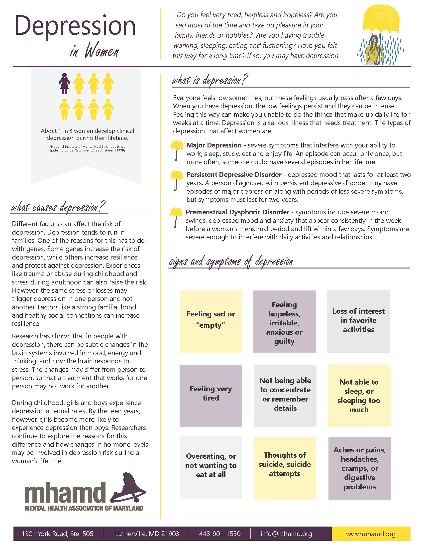 Icon Depression in Women Fact Sheet